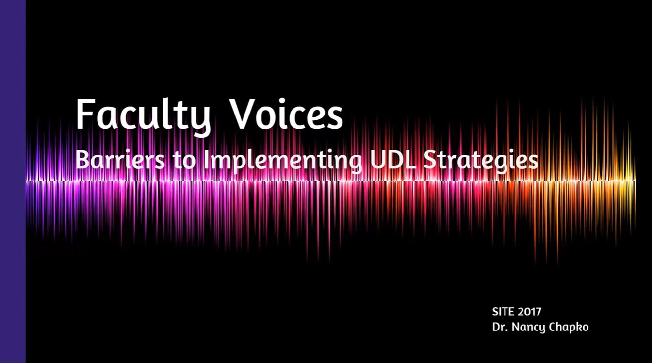 Title slide image from SITE 2017 presentation for Faculty Voices
